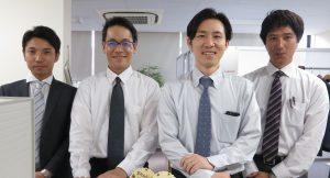 事務所の男性陣。左から、天野、関口、櫻田、松田です。